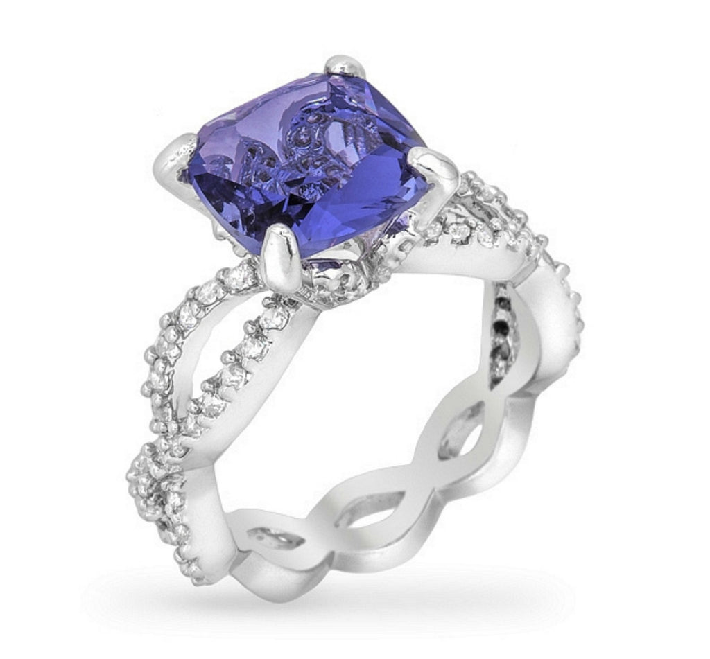 Kylee Tanzanite Cushion Cut Cocktail Ring | 3ct | Cubic Zirconia | Silver