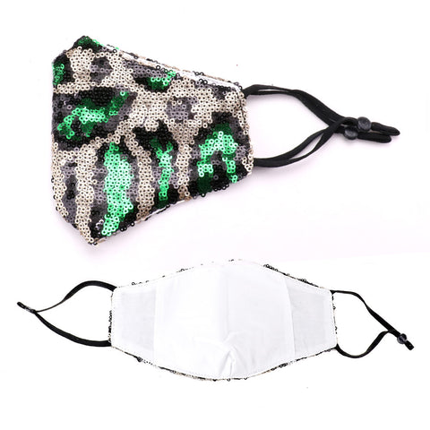 Kayli Leopard Pattern Sequin Embellished Fashion Mask
