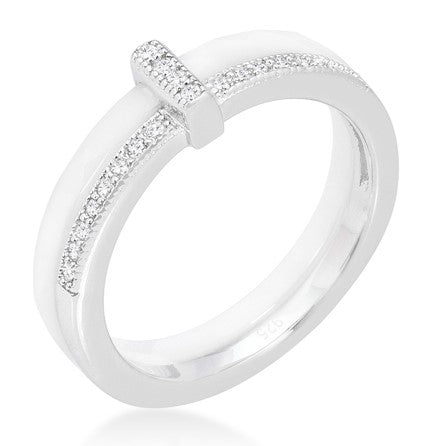 Lafi White Ceramic Cocktail Band Ring | .3 Carat | Cubic Zirconia  | Sterling Silver - Beloved Sparkles  - 1