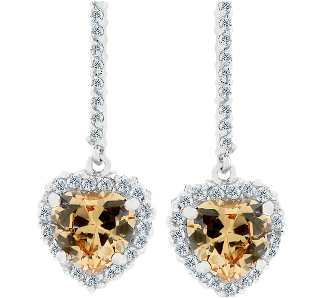 Lally Vintage Champagne Heart Drop Earrings | 2ct | Cubic Zirconia | Silver