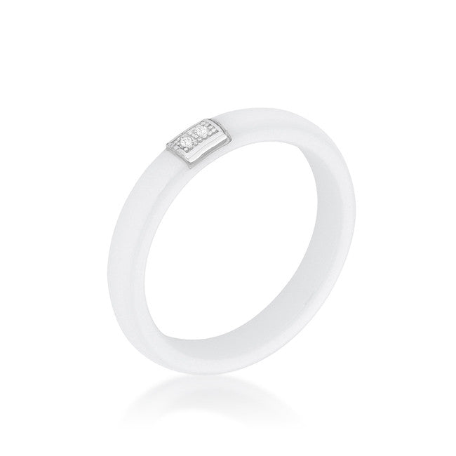 Lanali White Ceramic Cocktail Band Ring | .1 Carat | Cubic Zirconia | Sterling Silver - Beloved Sparkles  - 1