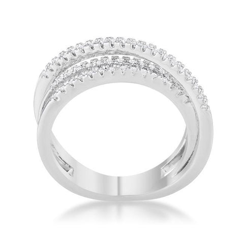 Laurie CZ Rhodium Comtemporary Trio Band Ring | 0.6ct | Cubic Zirconia - Beloved Sparkles  - 1