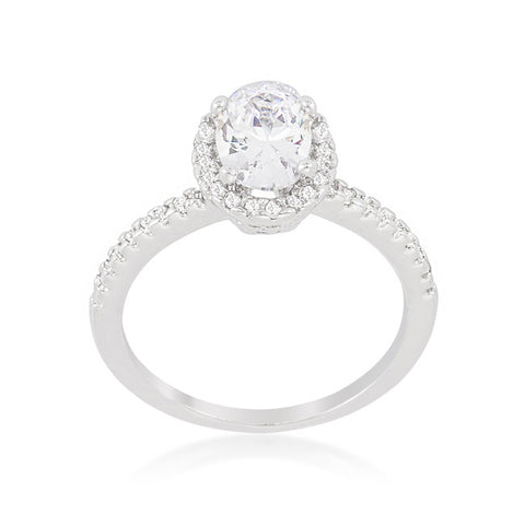 Laveda Oval Cut Halo Solitaire Engagement Ring | 2.8 Carat | Cubic Zirconia - Beloved Sparkles  - 3