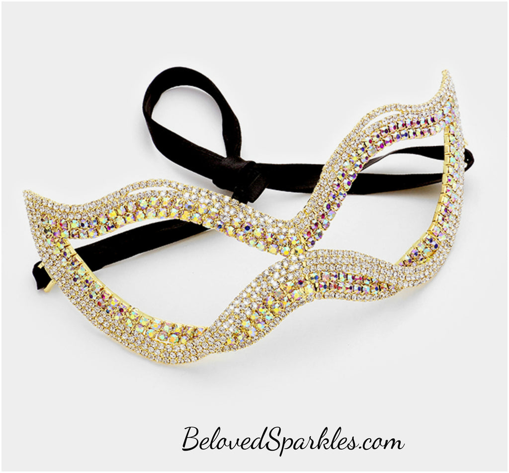 Leah Twist Cat Eye Masquerade Mask | Gold | Crystal - Beloved Sparkles