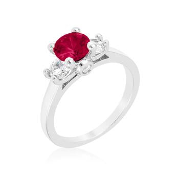Leana Dark Pink Three Stone CZ Ring | 1.8ct