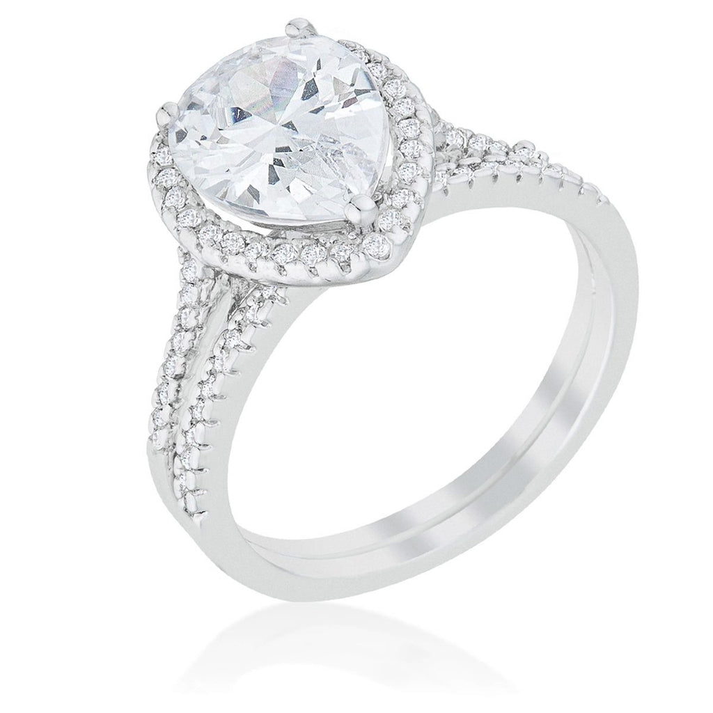 Leoda Pear Halo Engagement Ring Set | 5 Carat | Cubic Zirconia - Beloved Sparkles