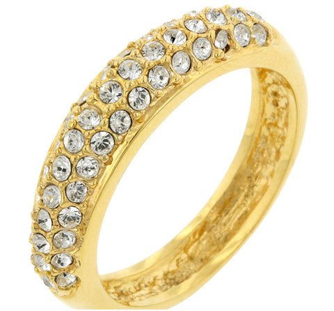 Letsey Pave CZ Goldtone Band Ring | 1.5ct | Cubic Zirconia | 18k Gold - Beloved Sparkles