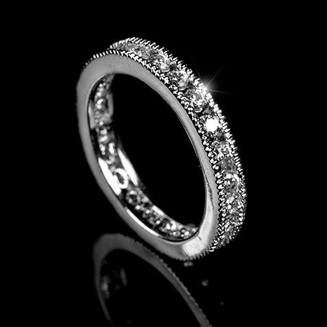 Lia Milgrain Eternity Stackable Ring | 1ct | Cubic Zirconia