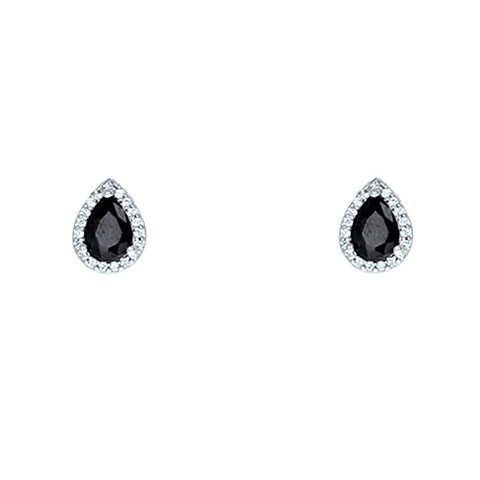 Lina Black Pear Halo CZ Earrings | 1.5ct