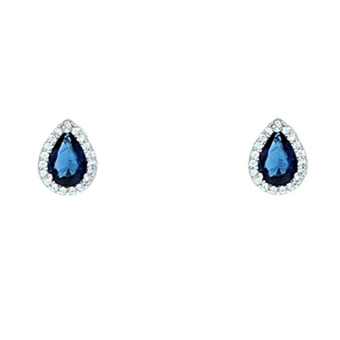 Lina Sapphire Pear Halo CZ Earrings | 1.5ct