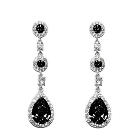 Lina Black Dangle Pear Drop Earrings | 38mm