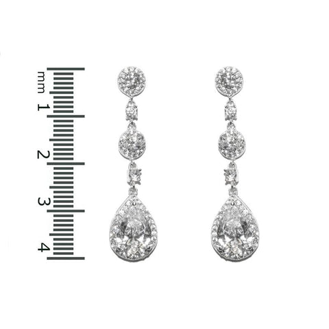 Lina Linear Dangle Pear Drop Earrings | 4ct | Cubic Zirconia | Silver
