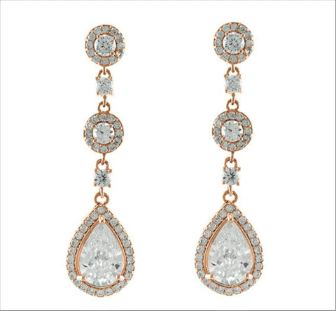Lina Linear Pear Drop Rose Gold Earrings | 4ct