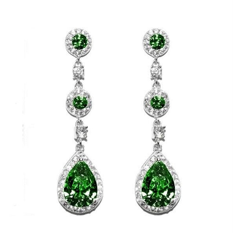 Lina Emerald Dangle Pear Drop Earrings | 38mm