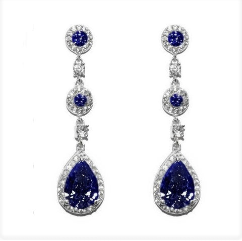 Lina Sapphire Dangle Pear Drop Earrings | 38mm