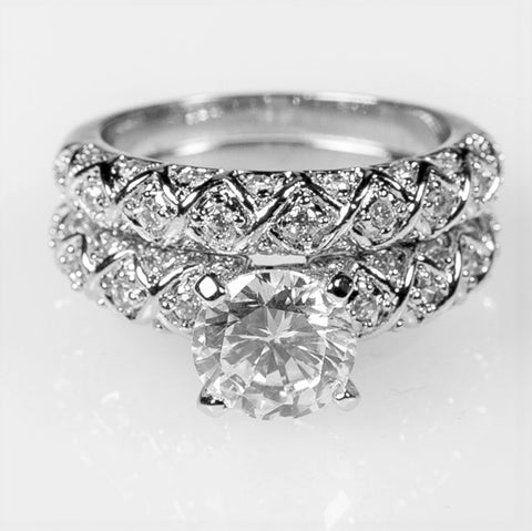 Lindy 1.8ct Round CZ Engagement and Wedding Ring Set | 2.8ct