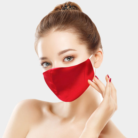 Lisette Red Silky Satin Fashion Mask