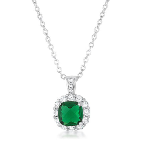 Liz Emerald Cushion  CZ Pendant | 3ct