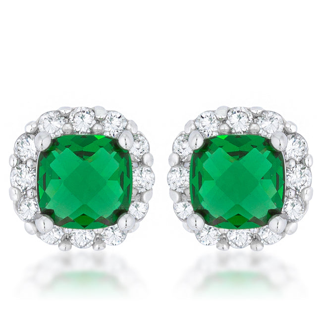 Liz Emerald Cushion Halo Stud Earrings