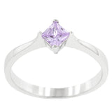 Lois Amethyst Petite Princess cut Solitaire Ring  | 0.5ct | Cubic Zirconia | Sterling Silver
