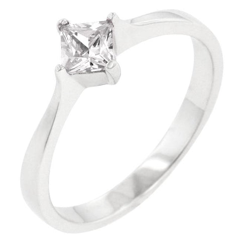 Lois Classic Petite Princess cut Solitaire Ring  | 0.5ct | Cubic Zirconia | Sterling Silver