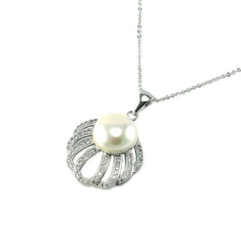 Lordyna White Pearl Clam Pendant