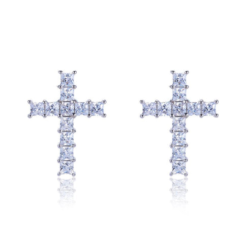 Lori Princess CZ Cross Silvertone Stud Earrings