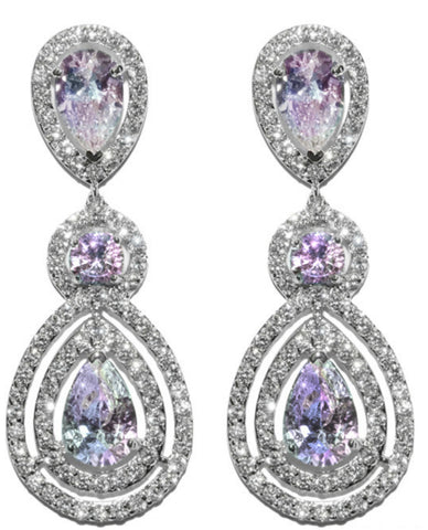 Louisa AB Pear Halo Chandelier Earrings | Cubic Zirconia