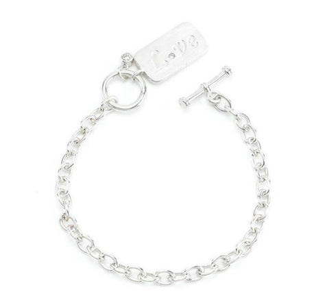 Love Charm Silvertone Fashion Bracelet - 7.5in