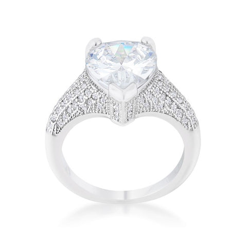 Lovina 4ct Pear CZ Vintage Solitaire Engagement Ring | 6ct
