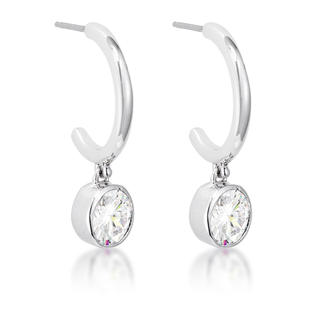 Luella CZ Silver Drop Hooplet Earrings | 1.5ct