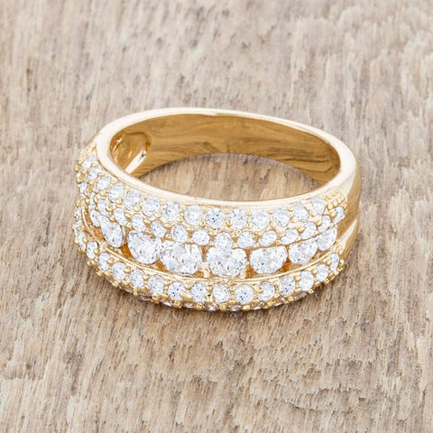 Luna CZ Gold Classic Band Ring | 1.1ct | 18k Gold