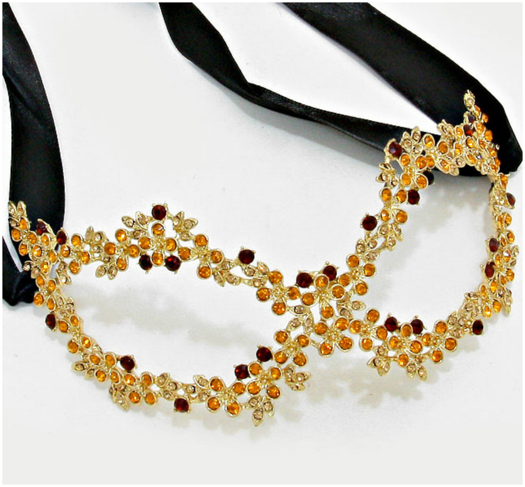 Lyla Flower Cluster Gold Masquerade Mask | Crystal - Beloved Sparkles  - 1