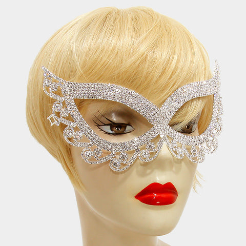 Lynn Swirl Cat Eye Masquerade Mask | Crystal | Silver