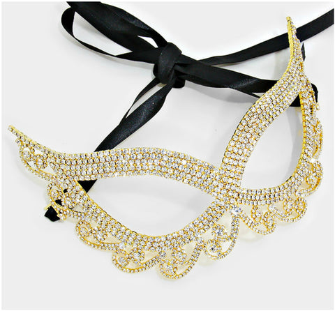Lynn Swirl Cat Eye Masquerade Mask | Crystal | Gold