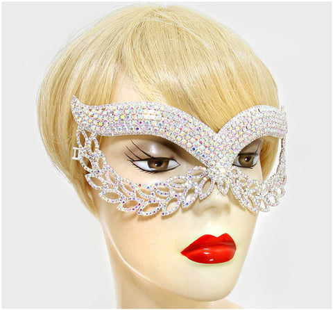 Maddie Exquisite Cat Eye Masquerade Mask | Silver | Crystal - Beloved Sparkles  - 2
