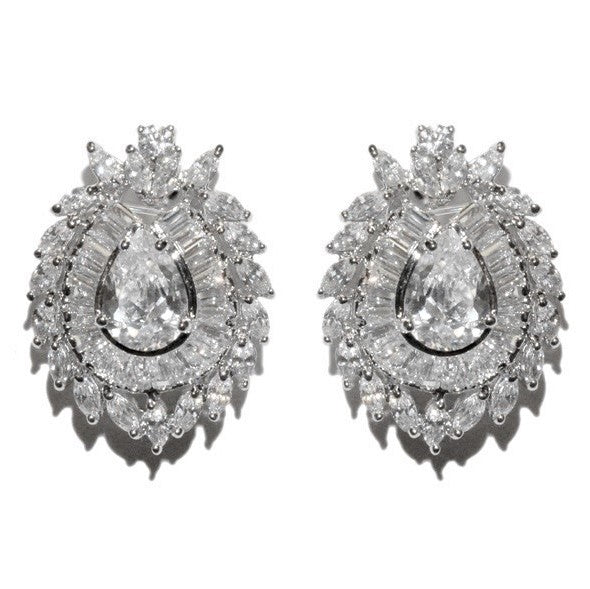 Maida Vintage Statement CZ Stud Earrings | Cubic Zirconia | Silver