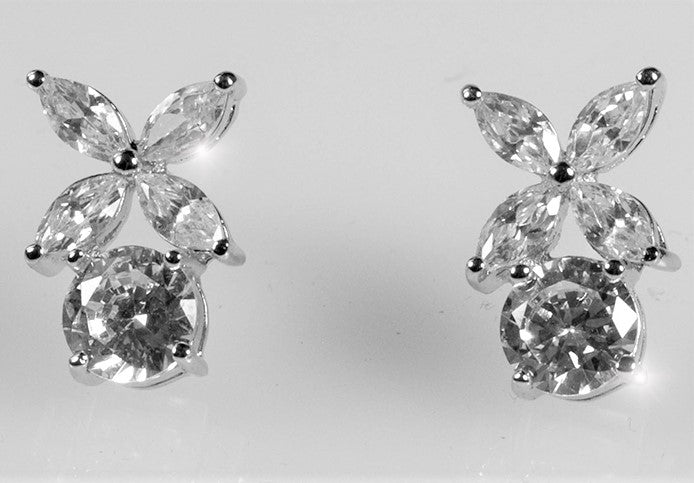 Malia Marquise Flower Cluster Stud Earrings | 5ct | Cubic Zirconia | Silver