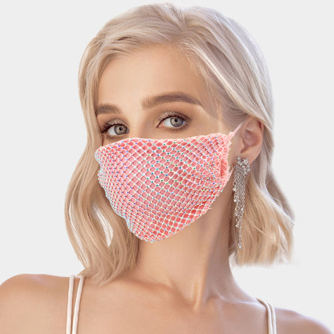 Mandy Bling Embellished Fish Net Fashion Mask