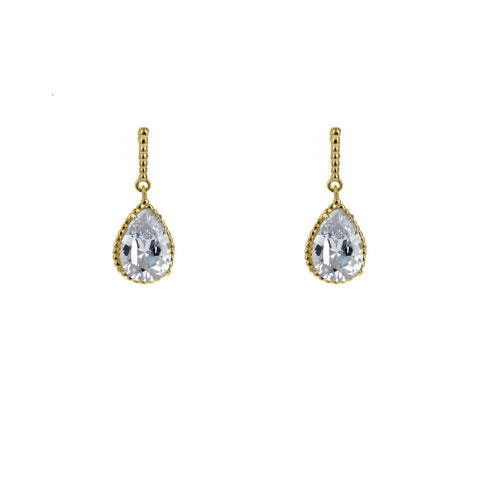 Mandy Pear CZ Drop Earrings