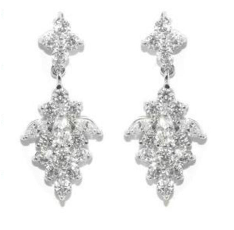 Marcy Cluster Dangle Earrings | 4.5ct | Cubic Zirconia | Silver - Beloved Sparkles