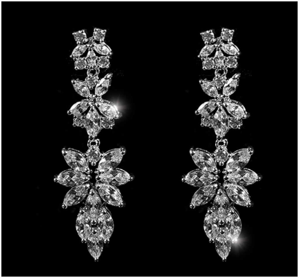 Marlene Marquise Cluster Chandelier Earrings | 8ct | Cubic Zirconia | Silver - Beloved Sparkles