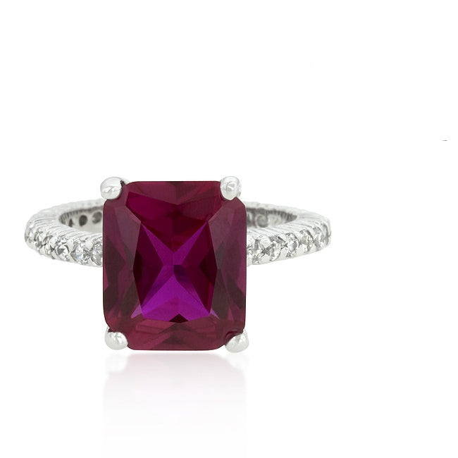 Marlene Pink Radiant Cut Engagement Cocktail  Ring | 7ct | Cubic Zirconia | Sterling Silver - Beloved Sparkles