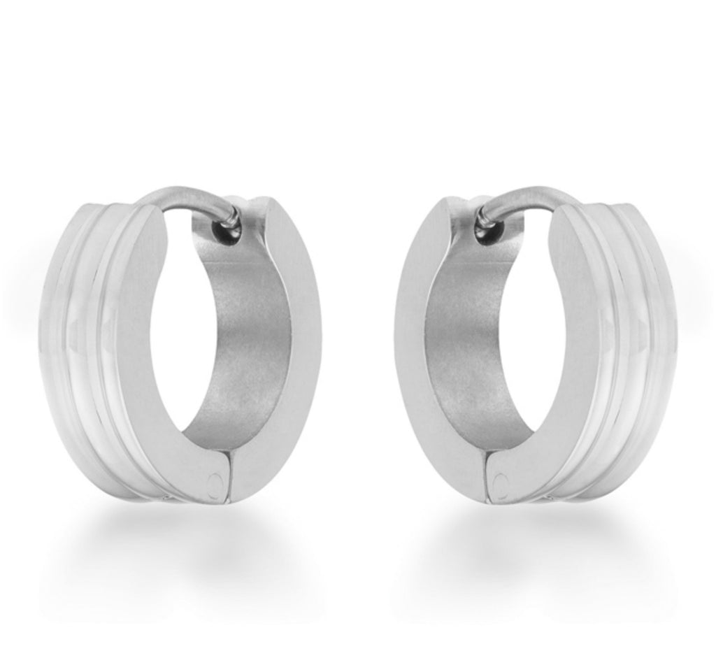 Marlene Rhodium Small Huggie Hoop Earrings | Stainless Steel