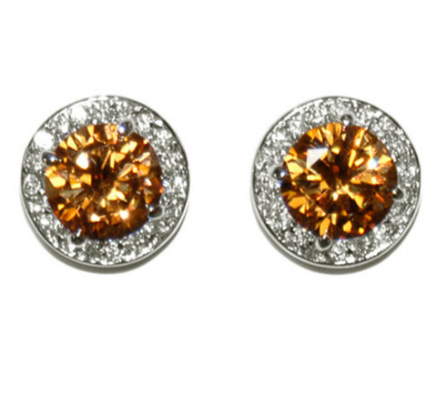 Matia Champagne Round Stud Earrings – 15mm | 5.5ct | Cubic Zirconia | Silver
