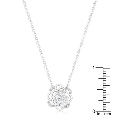Maya Rose Drop CZ Silvertone Necklace - Beloved Sparkles