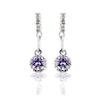 Maypo Lavender Round Drop Earrings | 1ct
