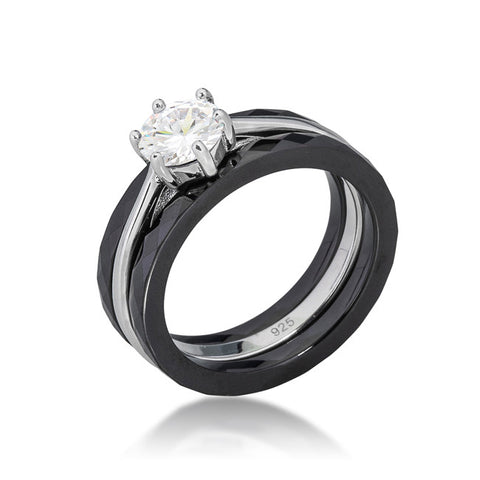 Mazie Three Ring Black Ceramic  Engagement Ring Set | 0.5ct | Cubic Zirconia | Sterling Silver