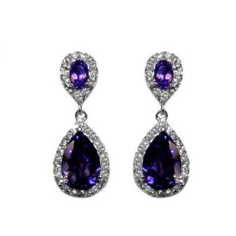 Melba CZ Amethyst Drop Earrings