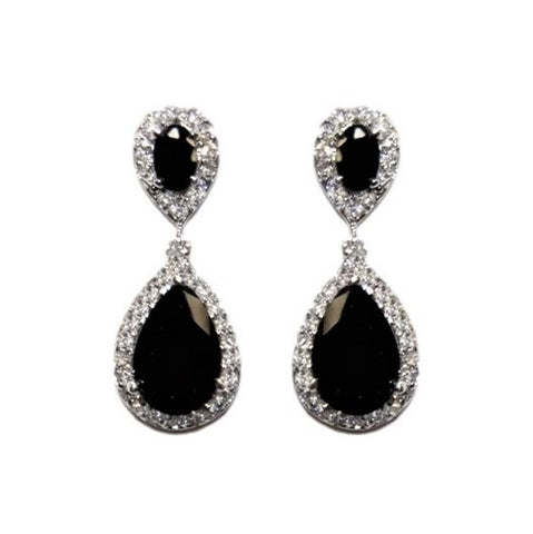 Melba CZ Black Drop Earrings